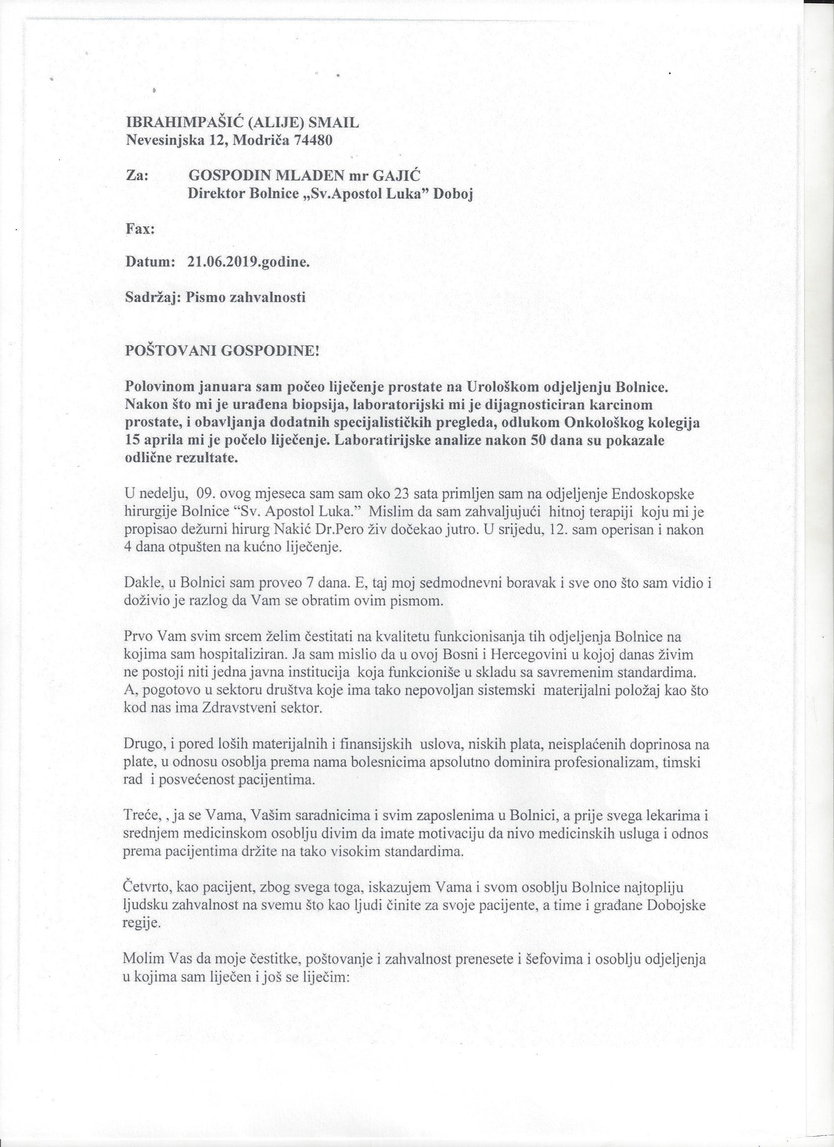 Pismo zahvalnosti direktoru Mladenu Gajicu I