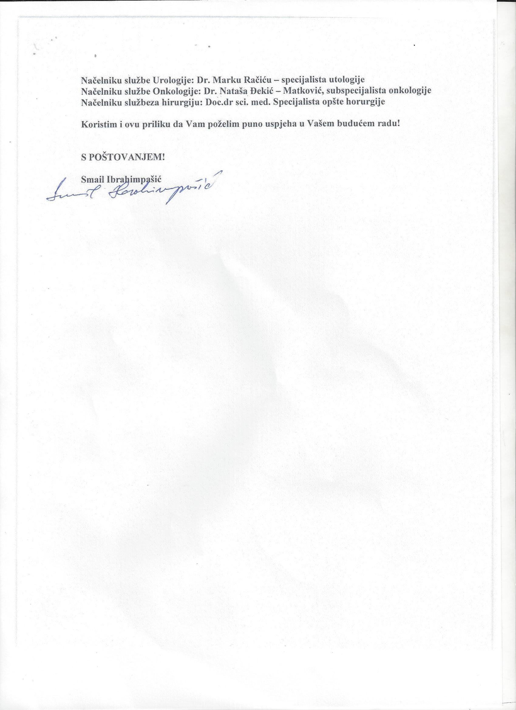 Pismo zahvalnosti direktoru Mladenu Gajicu II