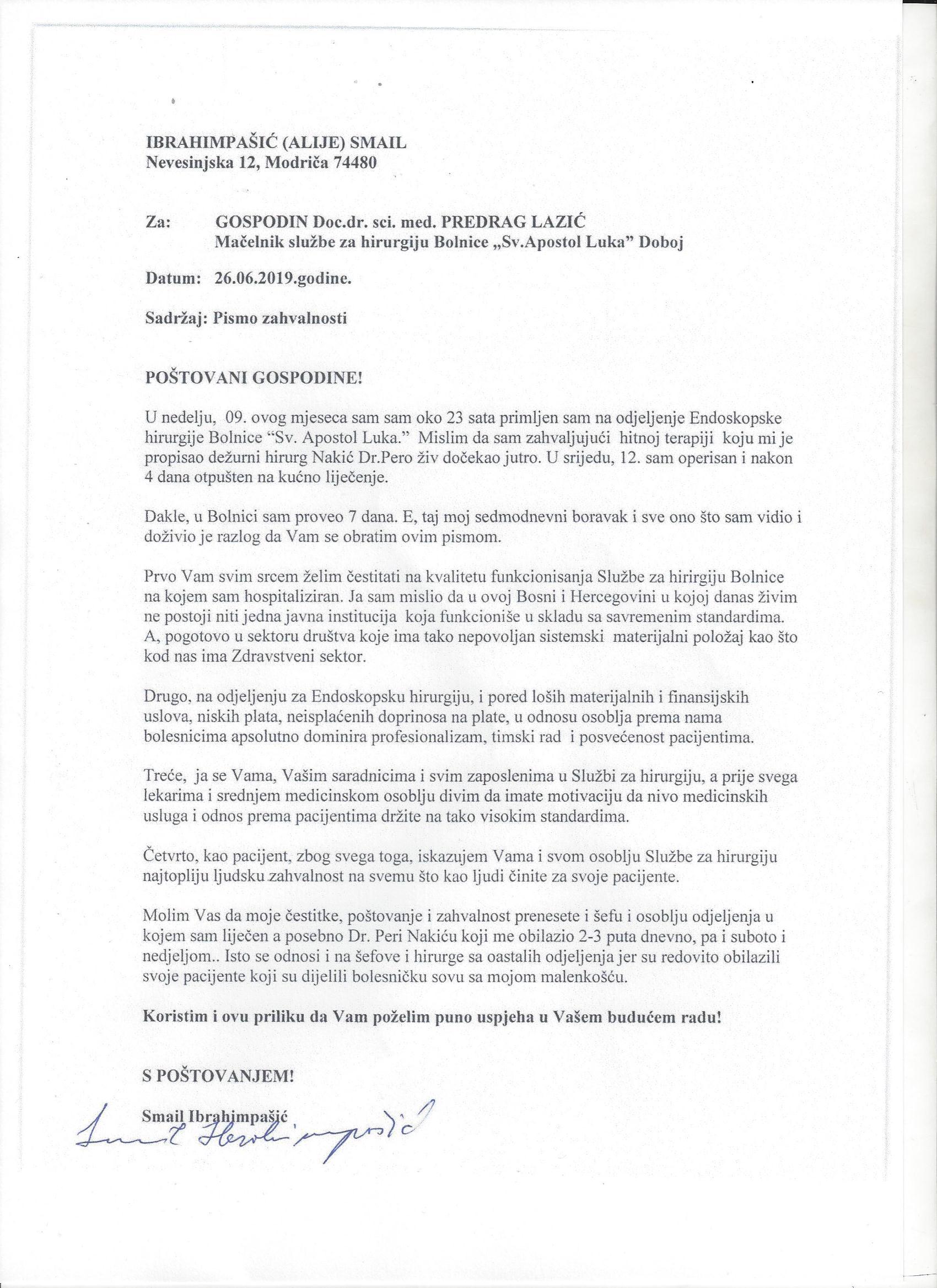 Pismo zahvalnosti dr Predragu Lazicu